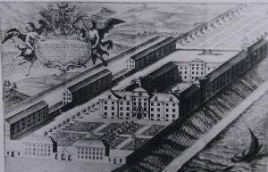 Idealisierter Kupferstich von 1735